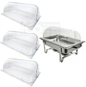 3 Pack Full Size Roll Top Chafing Dish Clear Plastic Pan Display Cover Chafer