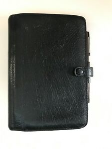 Filofax York Calf Leather Black Personal Organizer Vintage