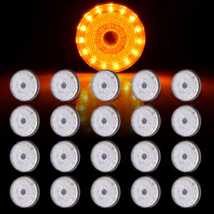 20 2 34 Round Amber Trailer Truck 24led Side Fender Marker Light Clear Lens