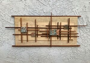 Vintage 1960 S Mid Century Modern Wood Copper Brutalist Wall Art Wall Hanging