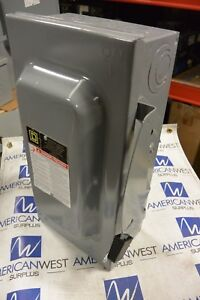 Square D D223n 2p 240v 100 Amp Fusible Disconnect Used