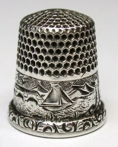Antique D C Percival Co Sterling Silver Thimble Water Scene Luie C 1890s