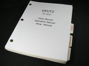 Deutz Khd Fl1011 Diesel Engine Parts Shop Service Repair Operator Manual Book