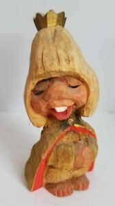 Vtg Henning Norway Hand Carved Wood Troll Royal Queen Crown 6 Free Us Ship
