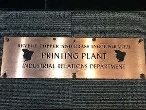 Revere Copper Brass Inc Copper Sign Printing Plant Industrial Relations Dept