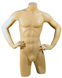 Mn 127 Fleshtone Freestanding Masculine Male Torso Form With Arms On Waist