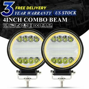 2x 4inch 88w Combo Led Work Light Pods Atv Jeep Bumper Pickup 4x4 Round Driving