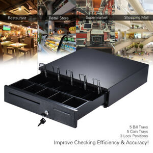 Heavy Duty Electronic Cash Drawer Box Case Storage 5 Bill coin Trays Check J2p2