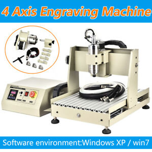 800w Cnc Router Engraver Engraving Cutting 4 Axis 3040 Machine Milling Artwork
