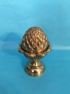 Antique Solid Brass Acorn Finial S Set Of 4 In Original Box 3 Inches In Height