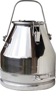 5 Gal Milk Can Tote bail Handle Stainless Steel 20 Qt Heavy Duty Sealed Lid