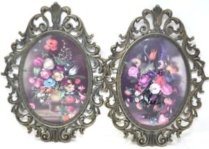 Set Of 2 Italian Floral Picture Large 13 Ornate Metal Convex Glass Vintage