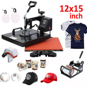 5in1 Digital Heat Press Machine Sublimation For T shirt Mug Plate Hat Printer