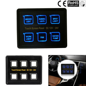 6 Gang Led Touch Screen Slim Switch Control Panel Car Boat Truck Marine 12v 24v