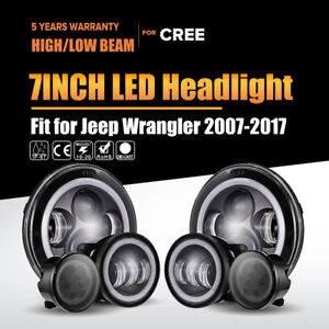 7 Cree Led Headlight signal Turn Lamp 4 Fog Light For Jeep Wrangler Jk 2007 18