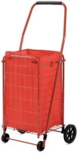 4 Wheel Utility Cart W Liner Wagon Folding Collapsible Beach Steel Outdoor