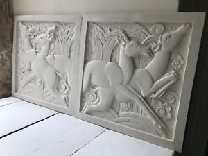 Pair Of Art Deco Sculpted Plaques 1x Right Hand 1x Left Hand