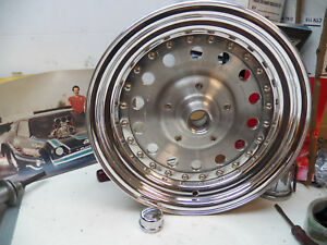 Center Line Alum pair Spindle Mount Whls Anglia Polished Rare Vintage Nos