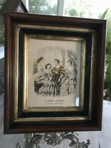 Antique Victorian Wood Walnut Frame Eastlake Shadow Box La Mode Illustree Print