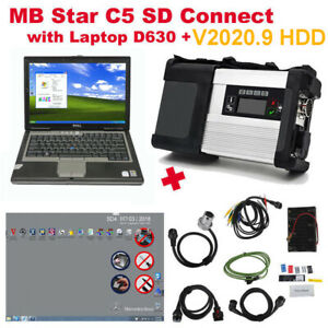 Newest V2019 3 Mb Sd Connect Compact 5 Star Diagnostic Tool With Dell D630