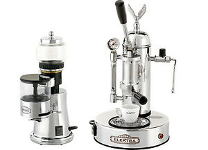 Elektra Micro Casa Grinder Msc Chrome Finish Manual Lever Espresso Set 110v