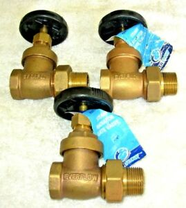 3 4 Brass Steam Radiator Shut Off Valve Straight Gate 3 Everflow 12 Each