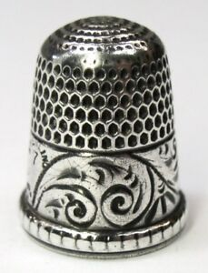 Antique Simons Brothers Sterling Silver Thimble Young Fern Band Design C 1890s
