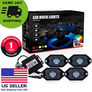 Best 4 Pc Rgb Led Multi color Rock Lights Kit Music Flashing Bluetooth Off Road