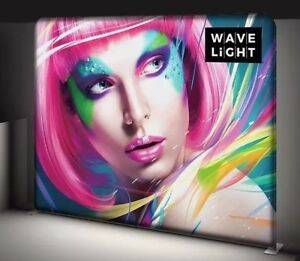 10ft Backlit Wave Light Tension Fabric Trade Show Exhibit Display Booth