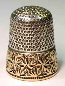 Antique Ketcham Mcdougall Gold Band Sterling Silver Thimble Snowflakes C 1880s