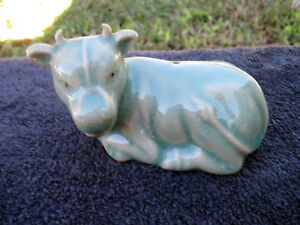 Antique Vtge Jade Green Celadon Oriental Bull Incense Burner Art Pottery Signed