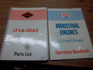 Lister petter Diesel Engine lt1 lv1 lv2 Part List lister Petter Operators Manual