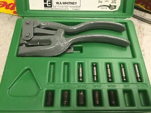 W a whitney No 45 Portable Hand Punch With Accessories In Case