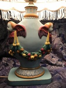 Small Vintage Italian Pottery Lamp Faience Majolica Cherub Fruit Blue With Shade