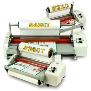 8 66 A4 Cold Hot Laminator 4 Rollers Roll Laminating Machine Speed Adjustable