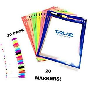 Dry Erase Pocket Sleeves Reusable Assorted Colors 20pack Multicolored With