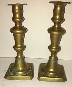 Antique Pair Of Queen Anne Brass Push Up Candlesticks 19th Century