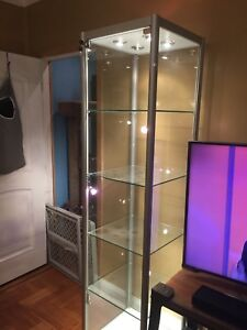 2 Lighted Glass Display Cases Store Fixture Collectable Figures Art Pick Up Only