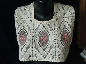 Antique Victorian Collar Alencon Lace W Petit Point Embr Red Eye Shape Motives
