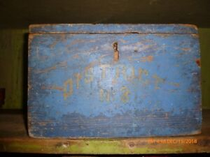 Early Primitive Ballot Box In Blue Aafa