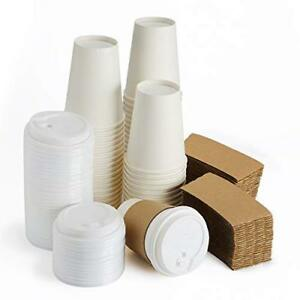 Eslite Hot Paper Coffee Cups With Lids And Sleeves 12 Ounce 50 Count white