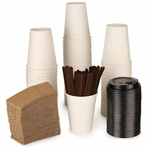 Paper Coffee Hot Cups By Ztlbrand With Lids Straws And Sleeves white 12