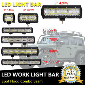 4 6 9 12 15 18 20 32 38 52 Inch Led Work Light Bar Driving Offroad 4wd Suv Atv