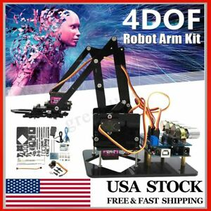 Diy Acrylic Robot Arm Claw Kit 4dof Mechanical Grab Manipulator For Arduino Uno