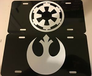 Galactic Empire Rebellion Jedi Star Wars License Plate Tag Aluminum 6x12