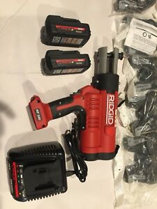 Ridgid Rp340 Battery Press Tool Kit W Propress Jaws 1 2 2 Batteries Charger