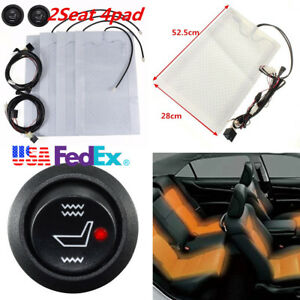 2 Seat Carbon Fiber Car Heated Seat Cushion Heater Kit 12v Round High Low Switch