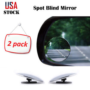 2pcs Round Blind Spot Mirror Hd Glass Frameless Convex Wide angle Rear View 360