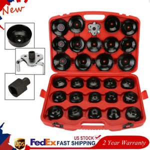30x Cap Type Oil Filter Wrench Cup Socket Tools Set Cars Automotive Removal Box