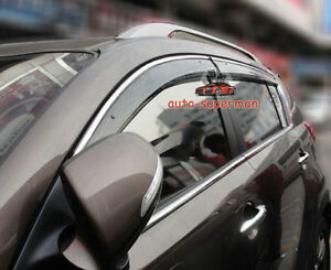 Window Visor Vent With Chrome Molding Trim For Kia Sportage 2011 2012 2013 2014